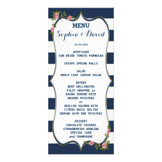 Elegant Navy Blue Stripes Wedding Menu Custom Rack Card