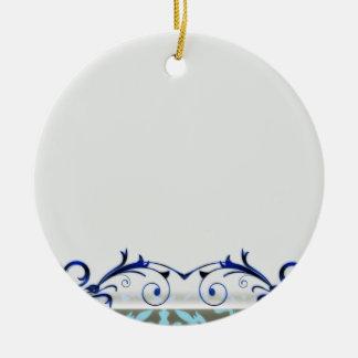 Elegant navy blue swirls with aqua damask christmas tree ornaments