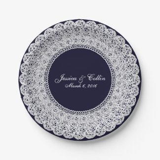 Elegant navy blue & white lace doiley custom plate 7 inch paper plate