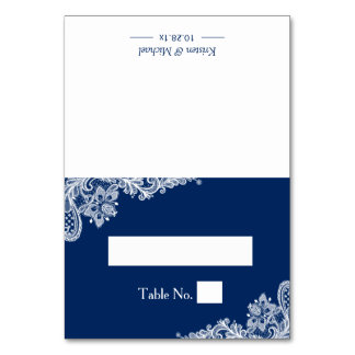 Elegant Navy Blue White Lace Wedding Place Table Cards