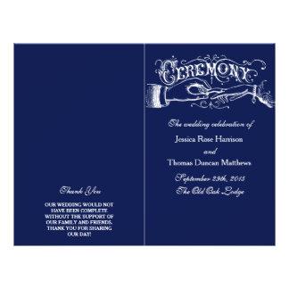 Elegant Navy Blue & White Wedding Ceremony Program 21.5 Cm X 28 Cm Flyer
