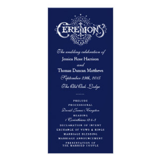 Elegant Navy Blue & White Wedding Ceremony Program Personalized Rack Card