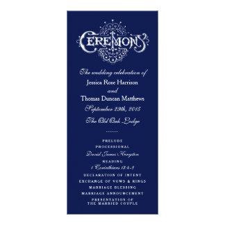 Elegant Navy Blue & White Wedding Ceremony Program Rack Card