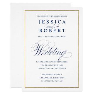 Elegant Navy Calligraphy Wedding Faux Gold Border Card