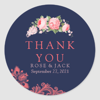 Elegant Navy & Coral Lace Thank You Stickers