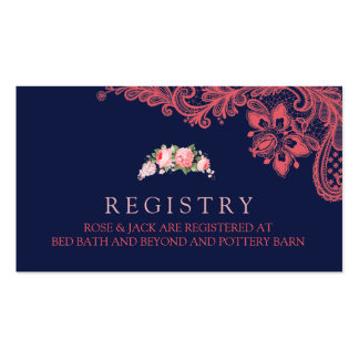 Elegant Navy & Coral Lace Wedding Registry Card Pack Of Standard Business Cards