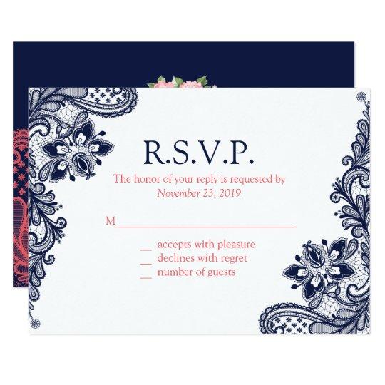 Elegant Navy & Coral Lace Wedding Response Cards