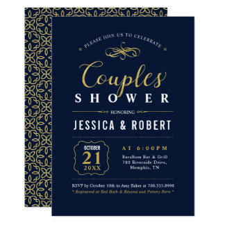 Elegant Navy & Gold Couples Shower Invitation