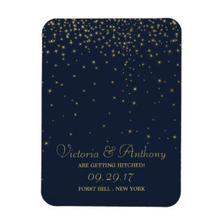 Elegant Navy & Gold Falling Stars Save The Date Magnet
