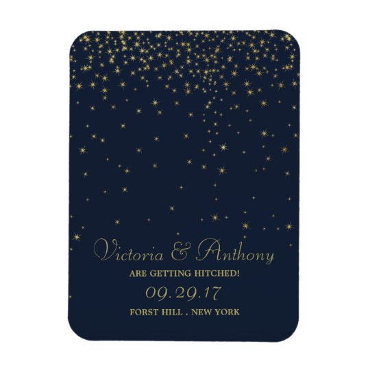 Elegant Navy & Gold Falling Stars Save The