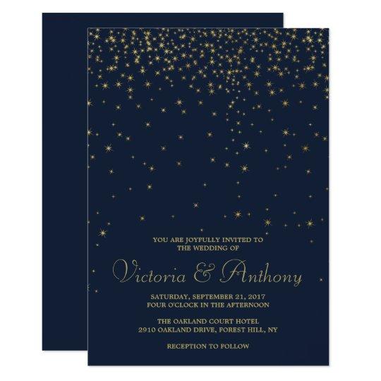 Elegant Navy & Gold Falling Stars Wedding Card