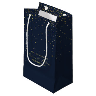 Elegant Navy & Gold Falling Stars Wedding Favor Small Gift Bag
