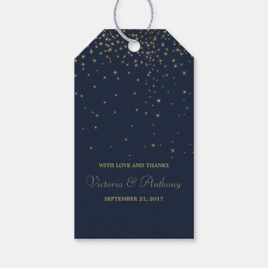 Elegant Navy & Gold Falling Stars Wedding Favour