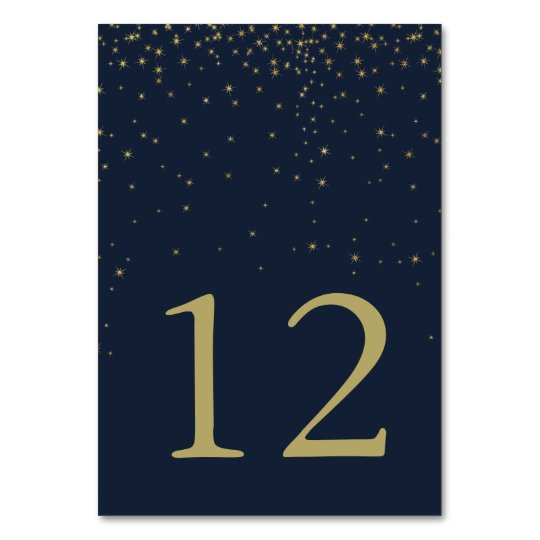 Elegant Navy & Gold Falling Stars Wedding Number