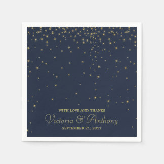 Elegant Navy & Gold Falling Stars Wedding Paper Napkins