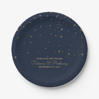 Elegant Navy & Gold Falling Stars Wedding Paper Plate