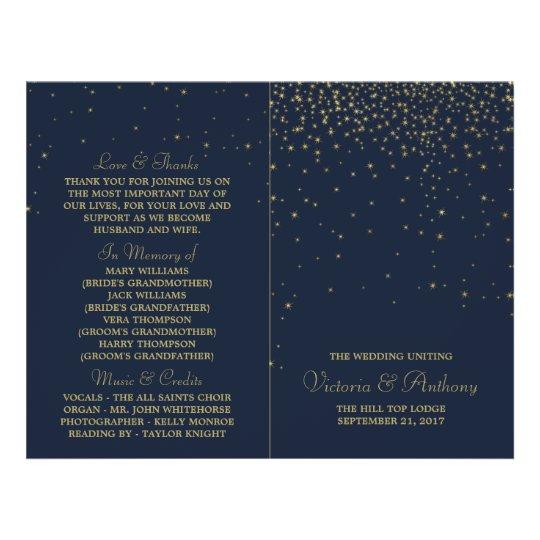 Elegant Navy & Gold Falling Stars Wedding Program