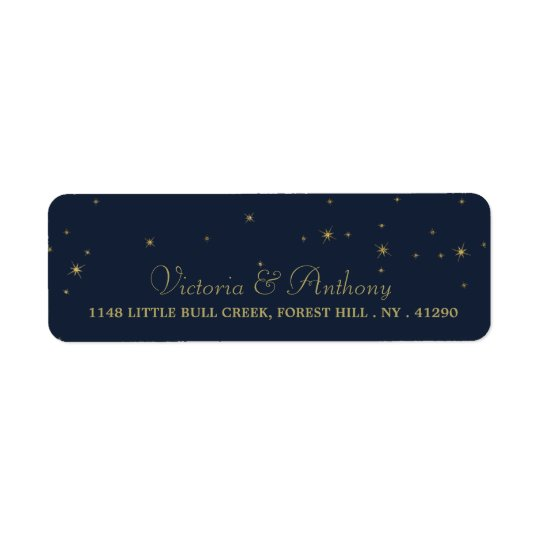 Elegant Navy & Gold Falling Stars Wedding Return