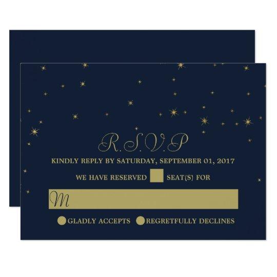 Elegant Navy & Gold Falling Stars Wedding RSVP