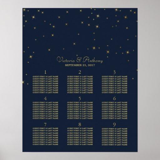 Elegant Navy & Gold Falling Stars Wedding Seating