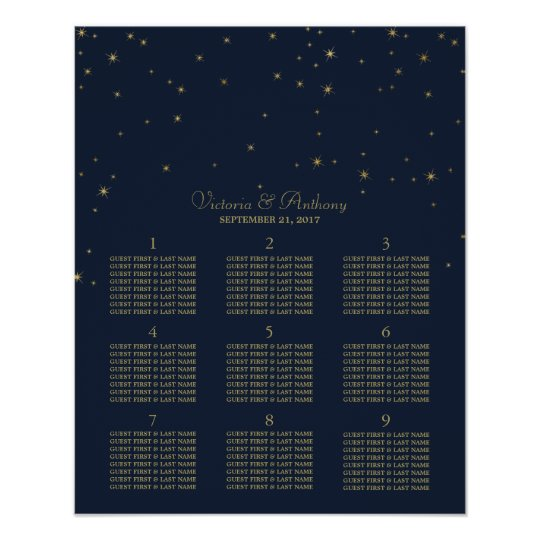 Elegant Navy & Gold Falling Stars Wedding Seating