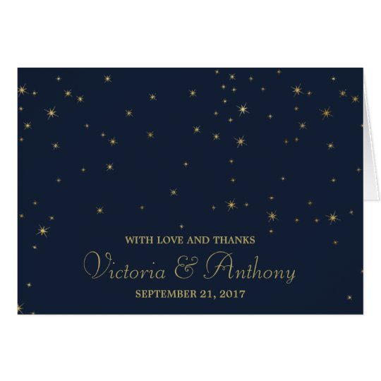 Elegant Navy & Gold Falling Stars Wedding Thanks