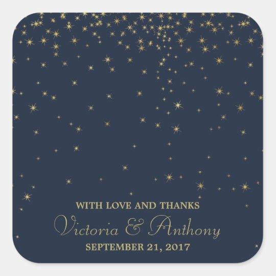 Elegant Navy & Gold Falling Stars Wedding Thanks