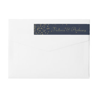 Elegant Navy & Gold Falling Stars Wedding Wraparound Return Address Label
