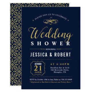 Elegant Navy & Gold Wedding Shower Invitation