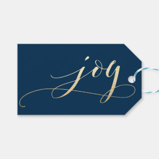 Elegant Navy Joy Faux Foil Christmas Holiday