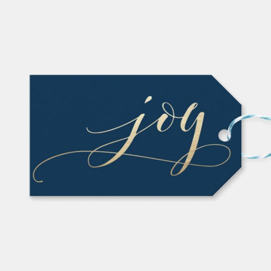 Elegant Navy Joy Faux Foil Christmas Holiday Gift