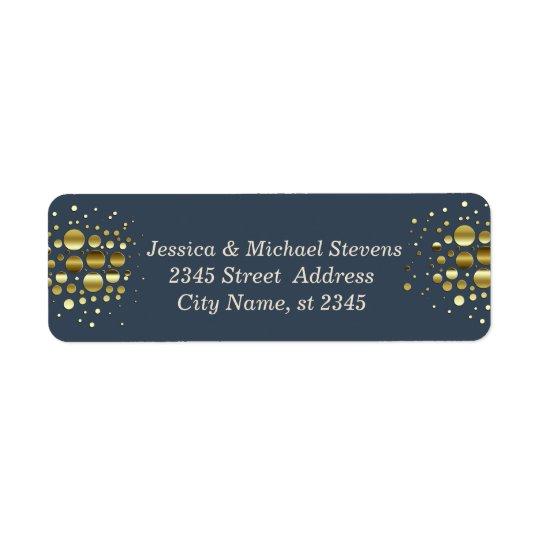 Elegant navy modern faux gold confetti wedding return address label