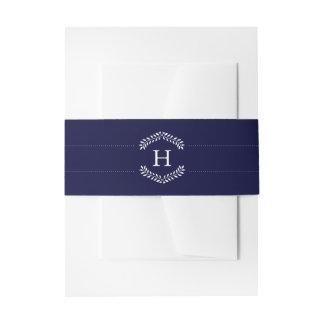 Elegant Navy Monogram Invitation Belly Band