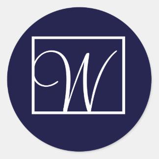 Elegant Navy Monogram Wedding Favour Labels Round Sticker