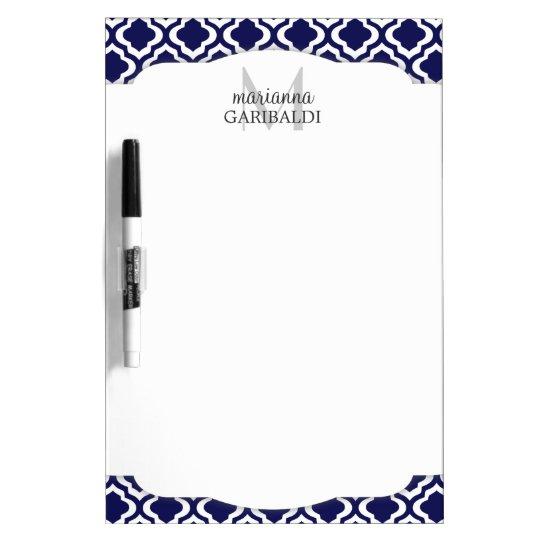 Elegant Navy Moroccan Quatrefoil Personalised Dry Erase Board