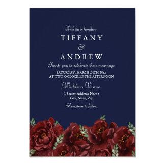 Elegant Navy Red Rose Leaf Modern Wedding Invite