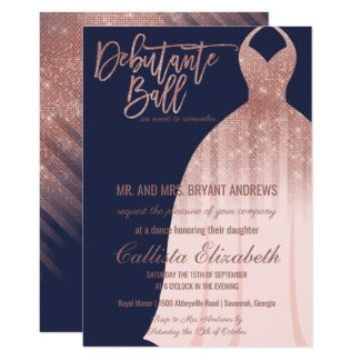 Elegant Navy Rose Gold Glitter Dress Debutante Invitation