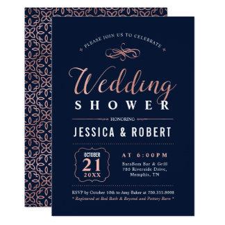 Elegant Navy & Rose Gold Wedding Shower Invitation