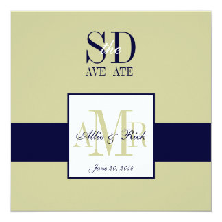 Elegant Navy Sage Save the Date Announcement