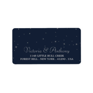 Elegant Navy & Silver Falling Stars Wedding Address Label