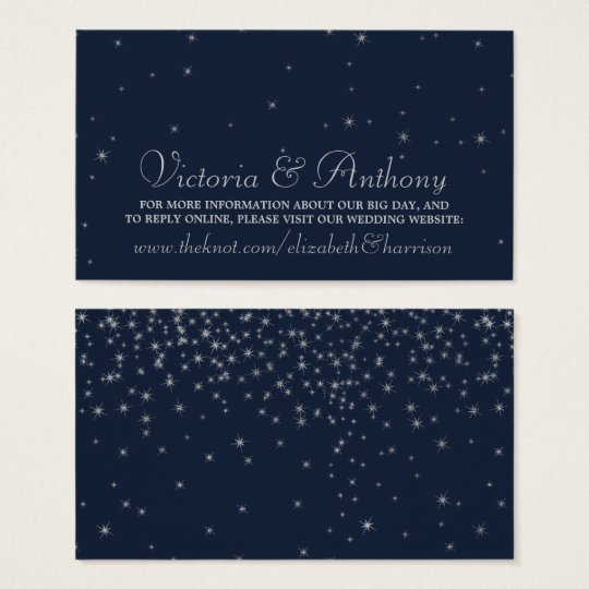 Elegant Navy & Silver Falling Stars Wedding Business