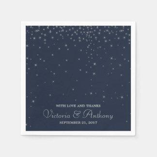Elegant Navy & Silver Falling Stars Wedding Disposable Serviette