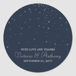 Elegant Navy & Silver Falling Stars Wedding Favour Classic Round Sticker