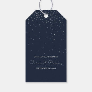 Elegant Navy & Silver Falling Stars Wedding Favour Gift Tags