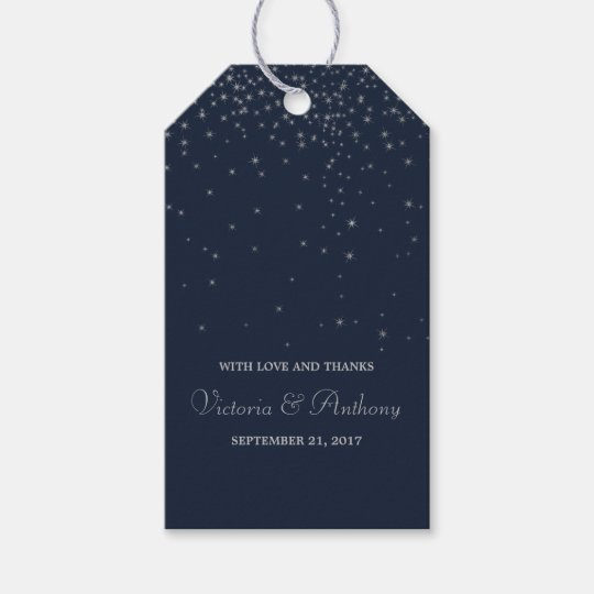 Elegant Navy & Silver Falling Stars Wedding Favour