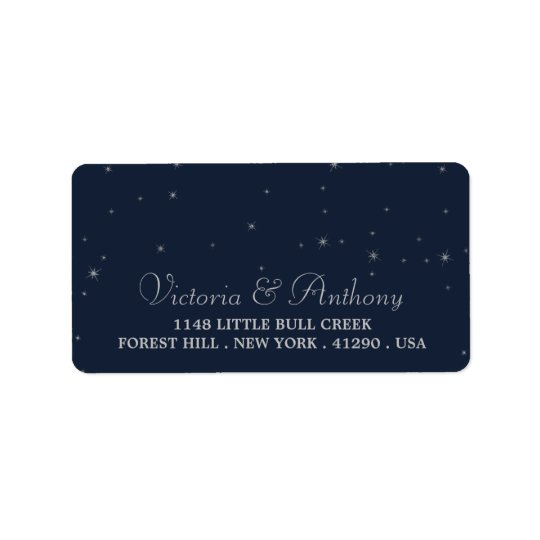 Elegant Navy & Silver Falling Stars Wedding Label