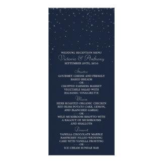 Elegant Navy & Silver Falling Stars Wedding Menu