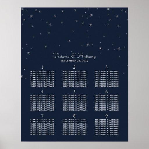 Elegant Navy & Silver Falling Stars Wedding Poster
