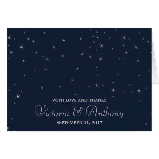 Elegant Navy & Silver Falling Stars Wedding Thanks
