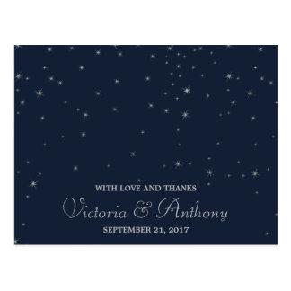 Elegant Navy & Silver Falling Stars Wedding Thanks Postcard